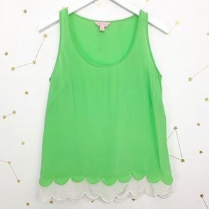 Lilly Pulitzer • Green Silk Scalloped Hem Tank Top